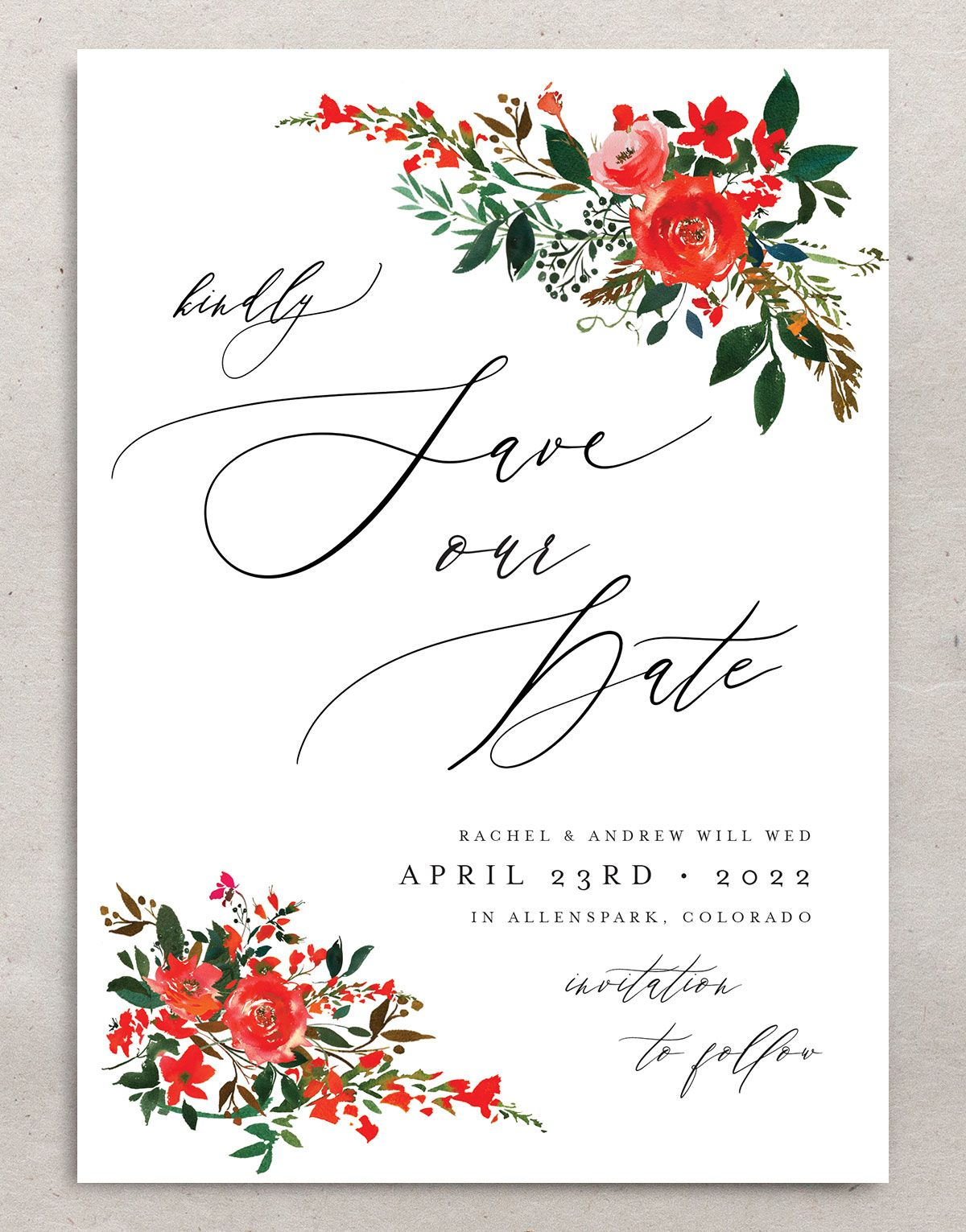Cascading Altar save the dates in bright red