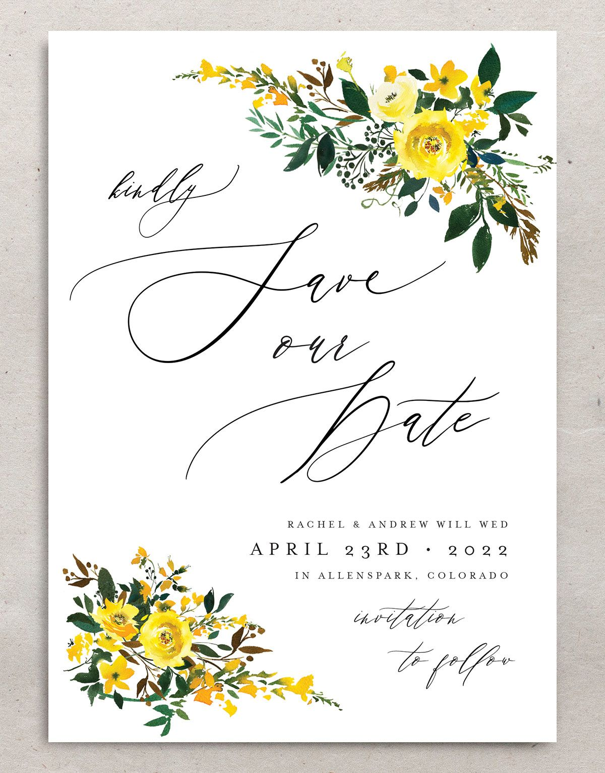 Cascading Altar save the dates in yellow