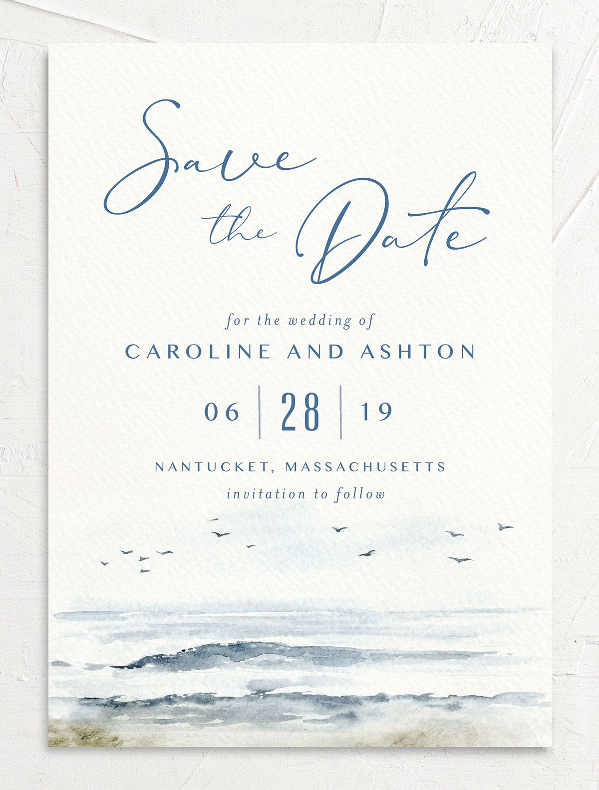 Coastal Love wedding announcement in blue front