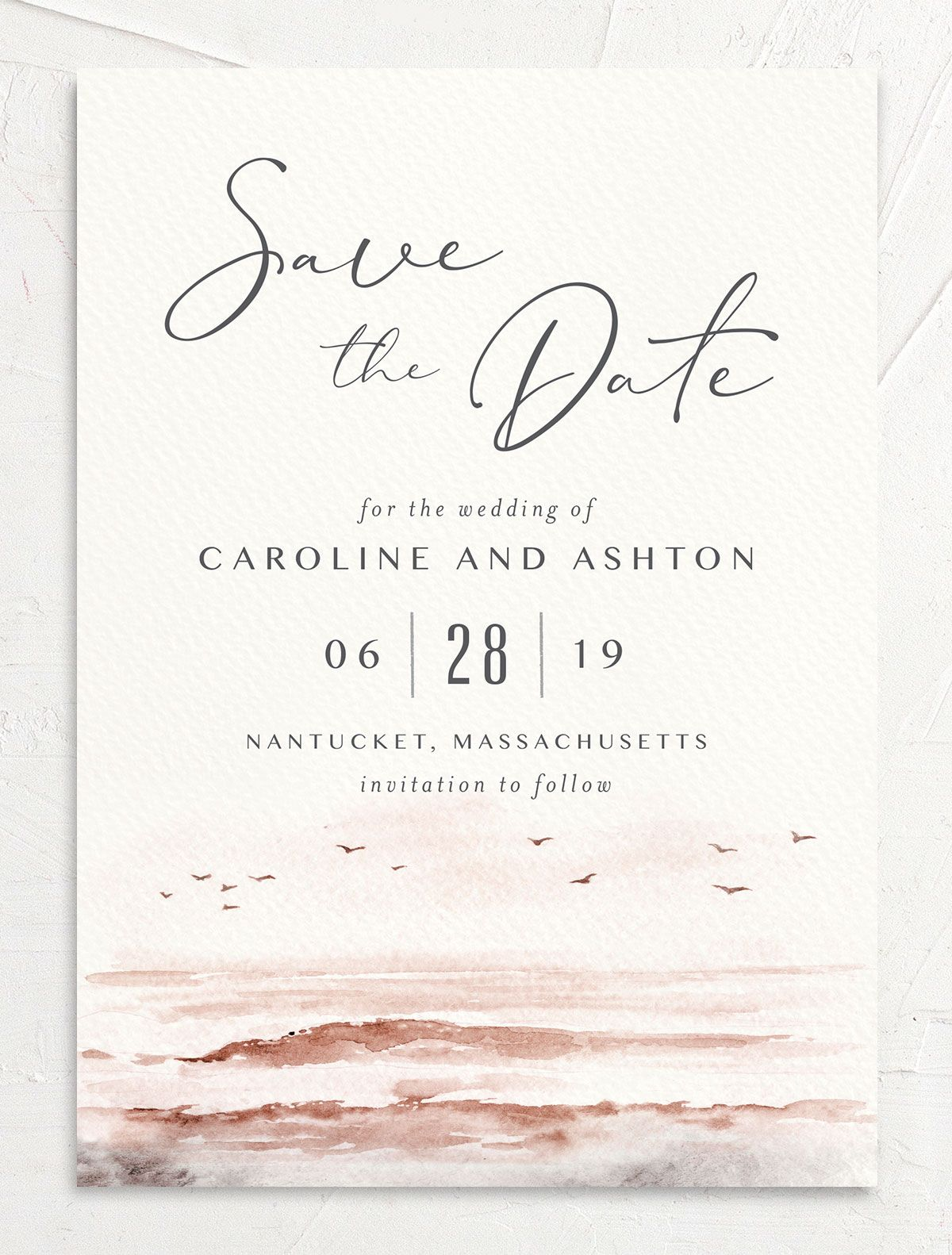 Coastal Love wedding announcement in grey front
