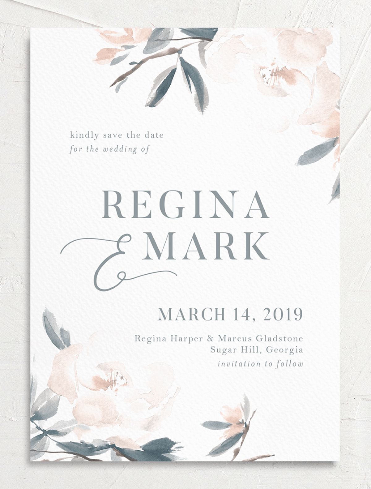 Elegant Garden wedding save the date closeup in blue