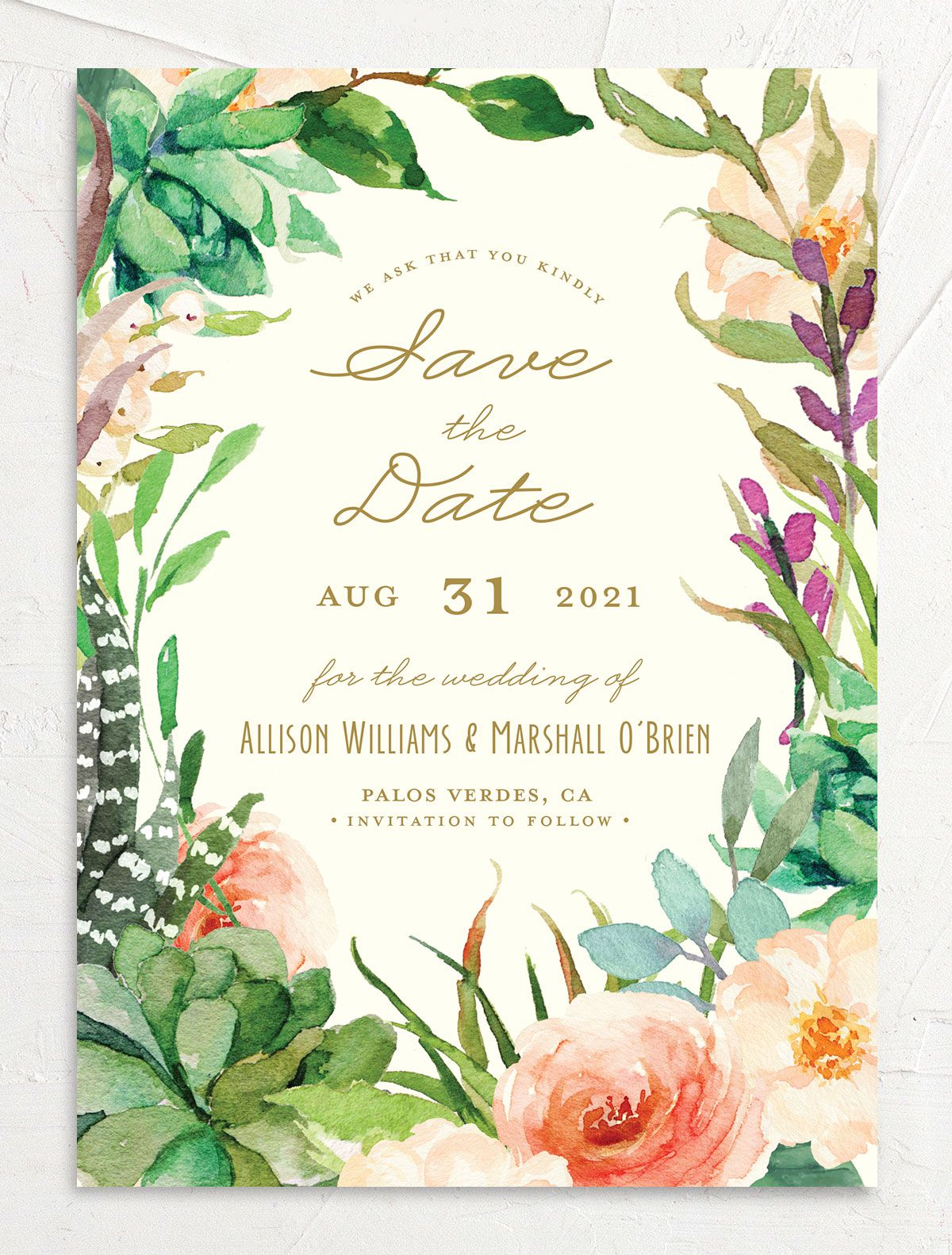 Elegant Oasis Wedding Save the Date front merch
