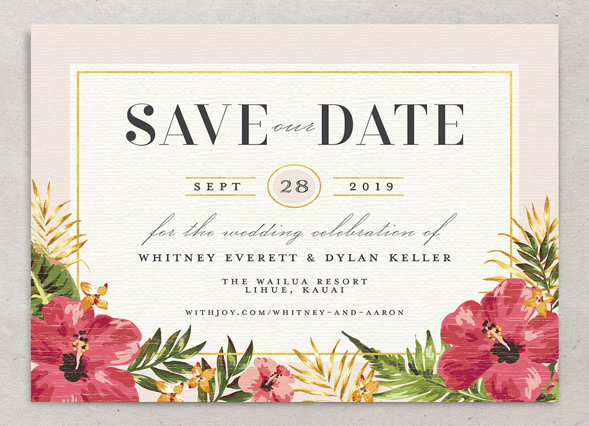 elegant paradise destination save the date cards in pink