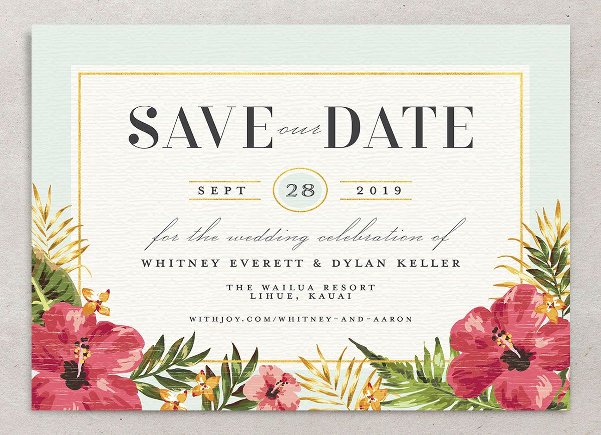 elegant paradise beach save the dates in teal