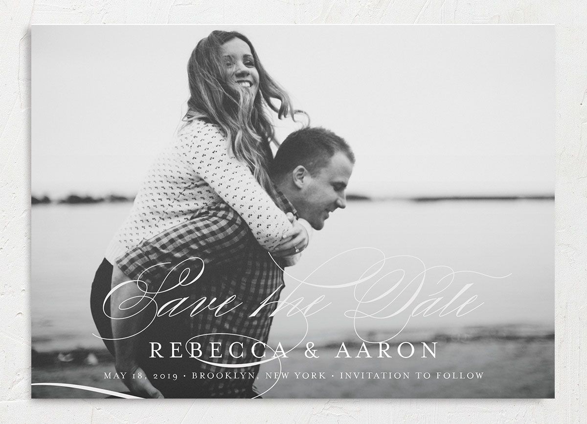 elegantly initialed photo save the date cards