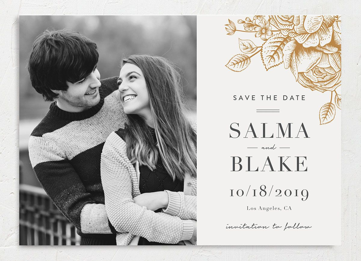 etched botanical photo save the dates
