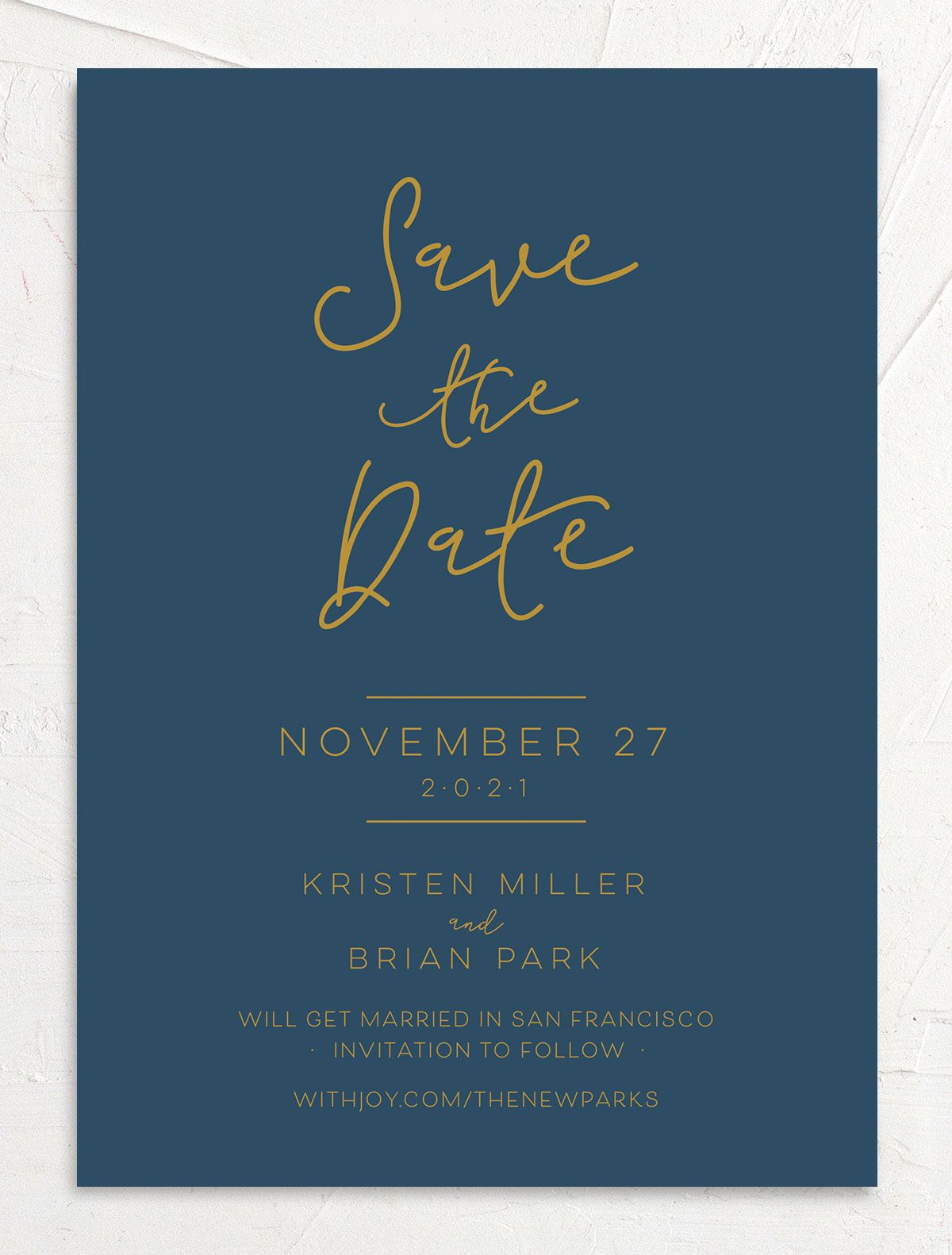 Gold Calligraphy Wedding Save the Date cards front blue