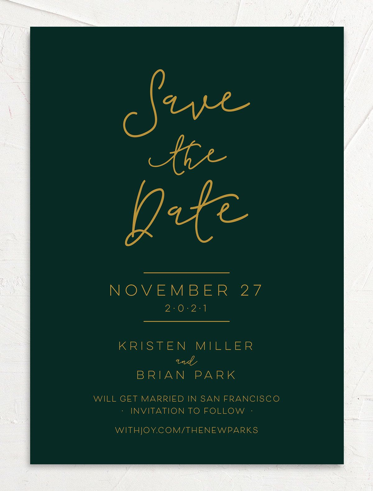 Gold Calligraphy Wedding Save the Date cards front green