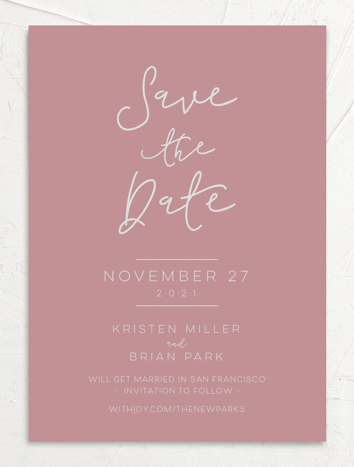 Gold Calligraphy Wedding Save the Date cards front pink