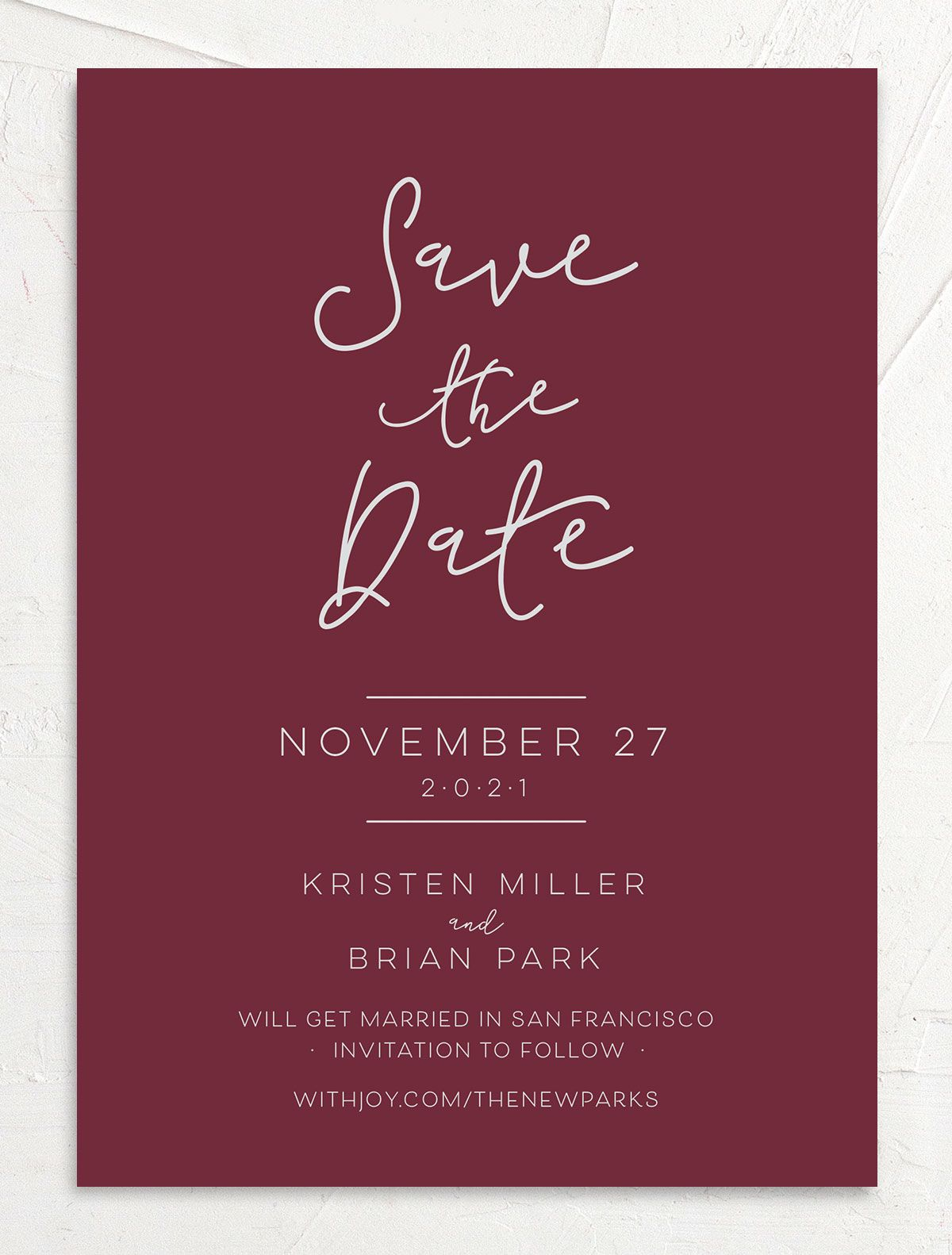 Gold Calligraphy Wedding Save the Date cards front red