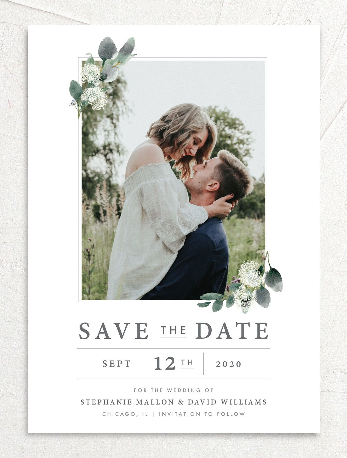 Greenery Branches Photo Save the Date front
