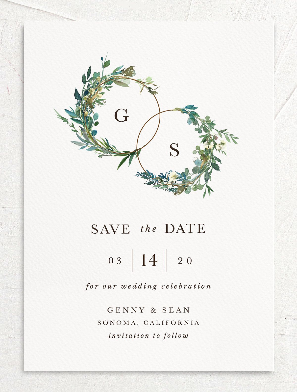 Leafy Hoops Wedding Save the Date front