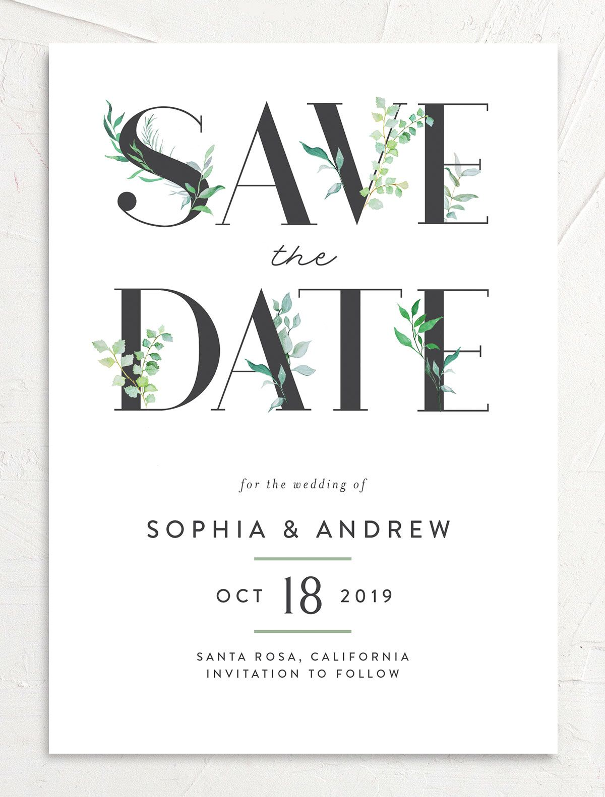 leafy ampersand save the date cards