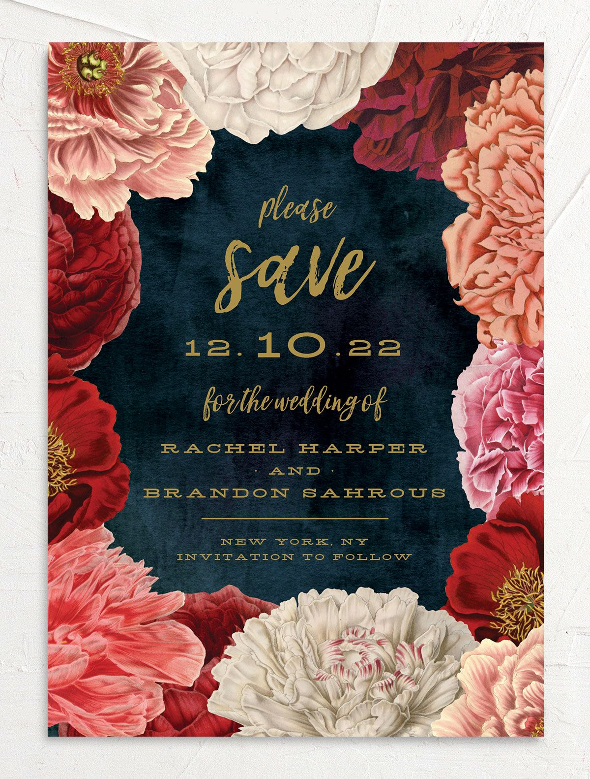 midnight peony save the date cards