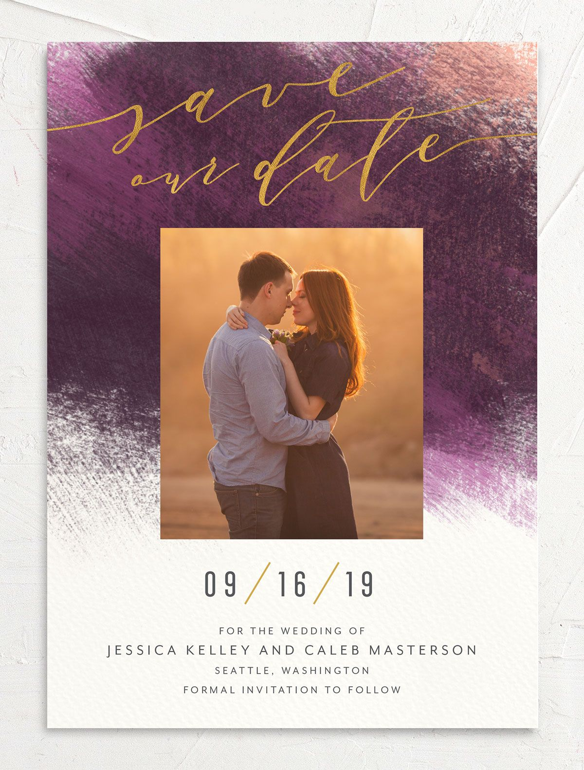 Modern Brush save the date front