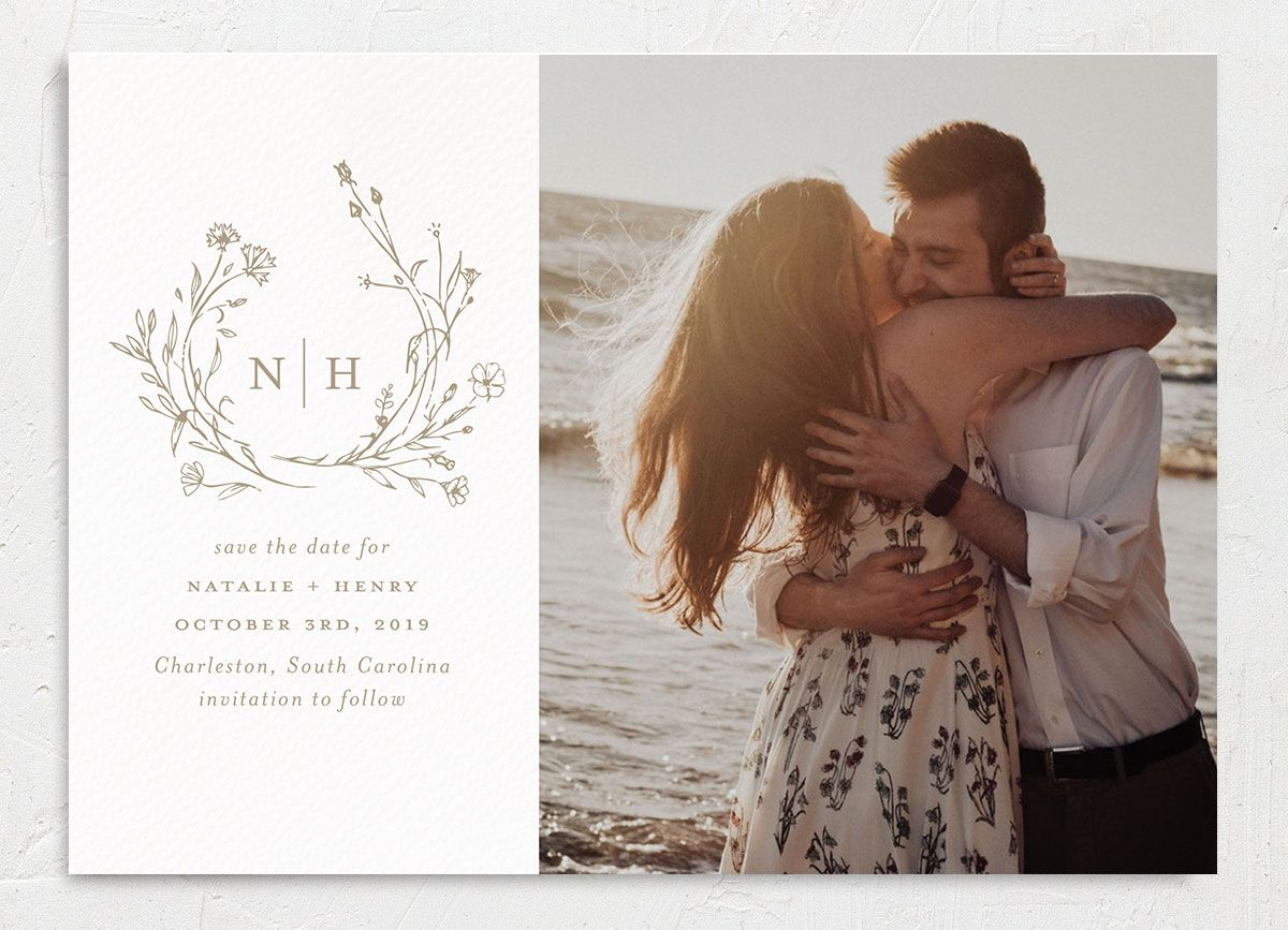 Natural Monogram photo save the dates tan close-up
