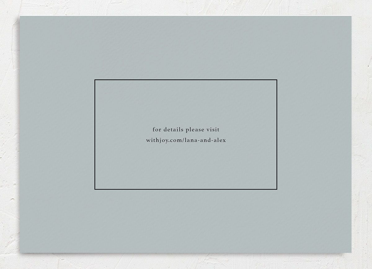 Natural Palette wedding save the date photo card backer in blue