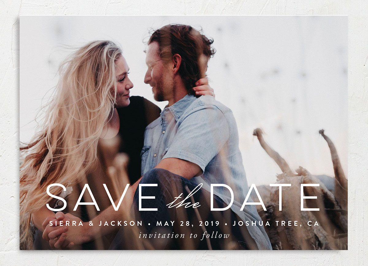 painted desert save the date card in purple