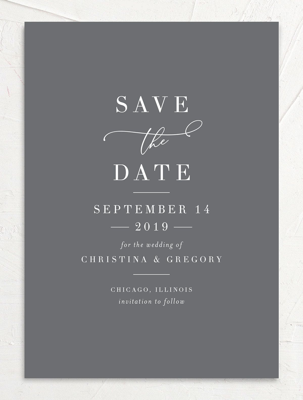 Romantic Calligraphy Save the Dates front grey closeup