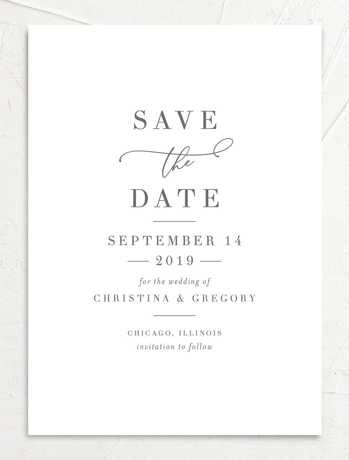 Romantic Calligraphy Save the Dates front multi closeup