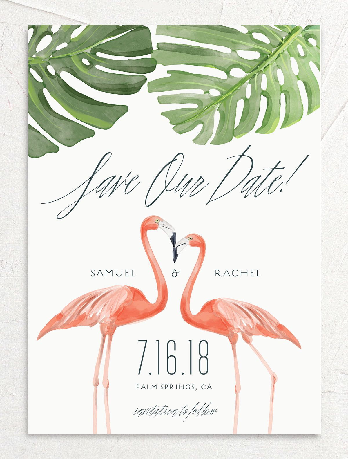 Romantic Palm save the date front