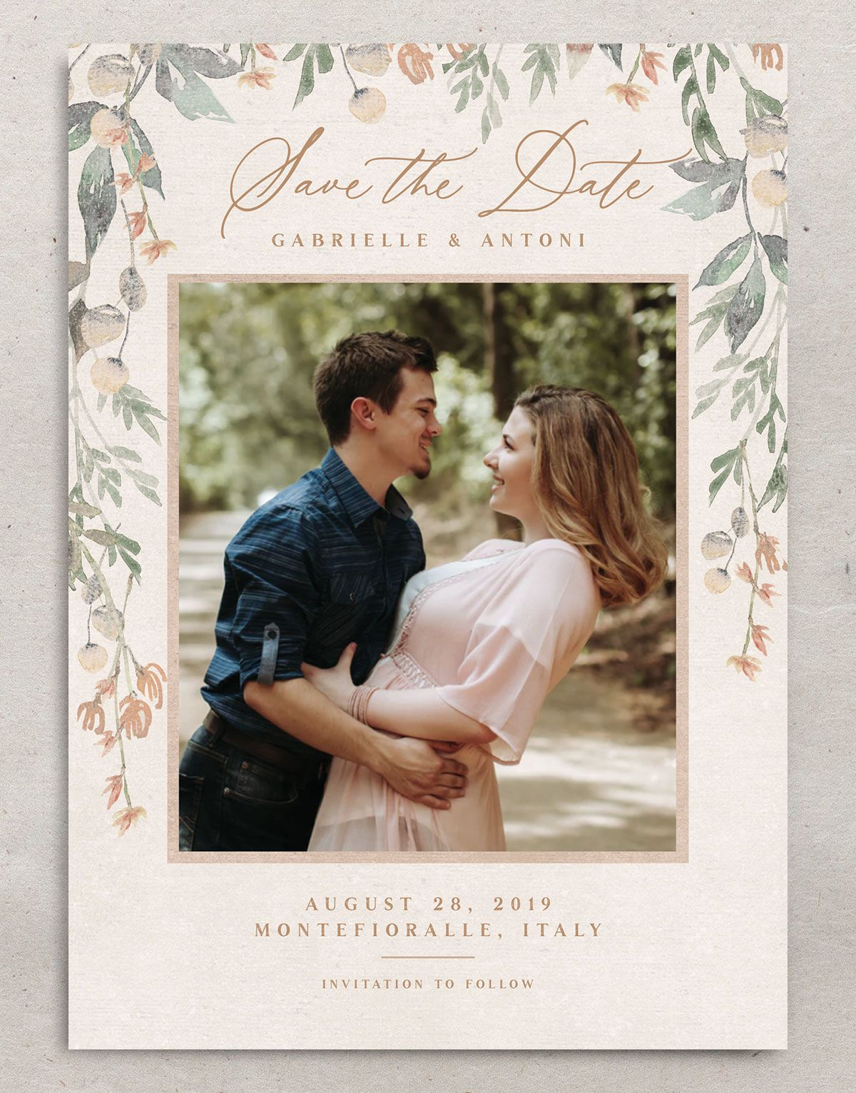 Rustic Vines save the date