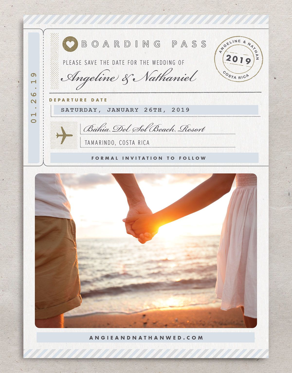 Vintage Boarding Pass save the date front blue