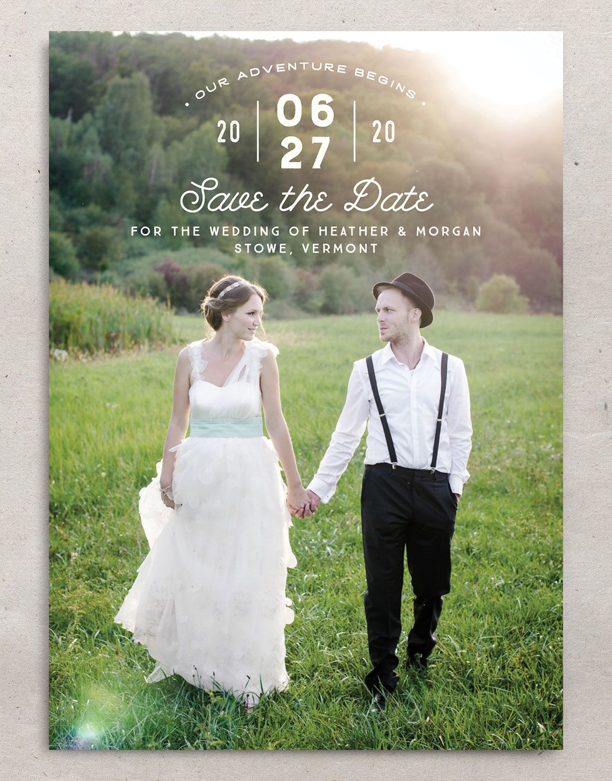 Vintage Mountain photo save the date front