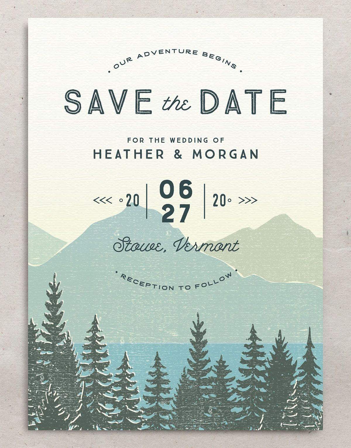 Vintage Mountainside save the date front