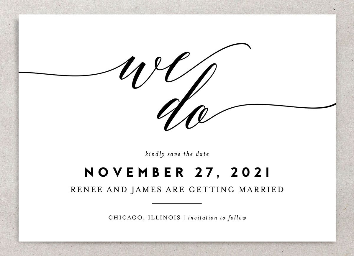 We Do Wedding Save the Dates closeup black front