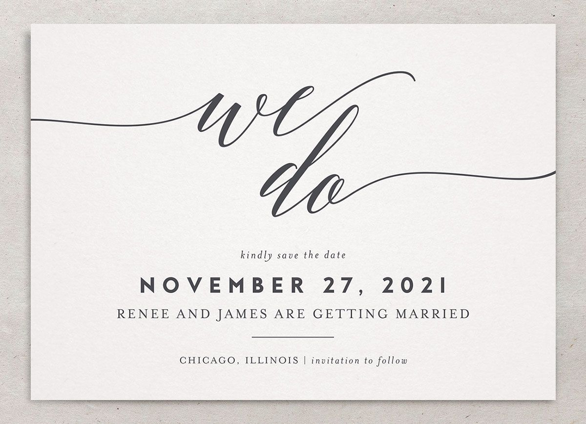We Do Wedding Save the Dates closeup grey front