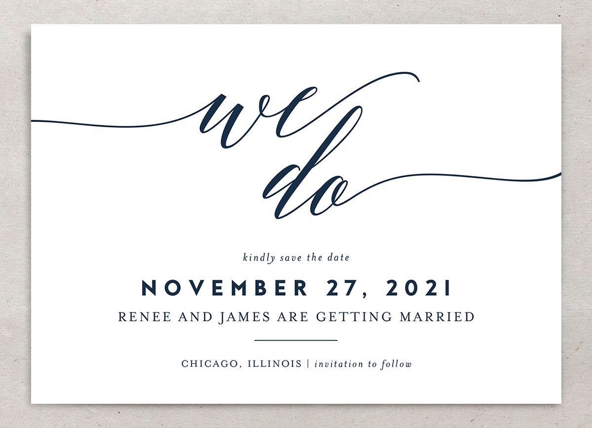 We Do Wedding Save the Dates closeup navy front