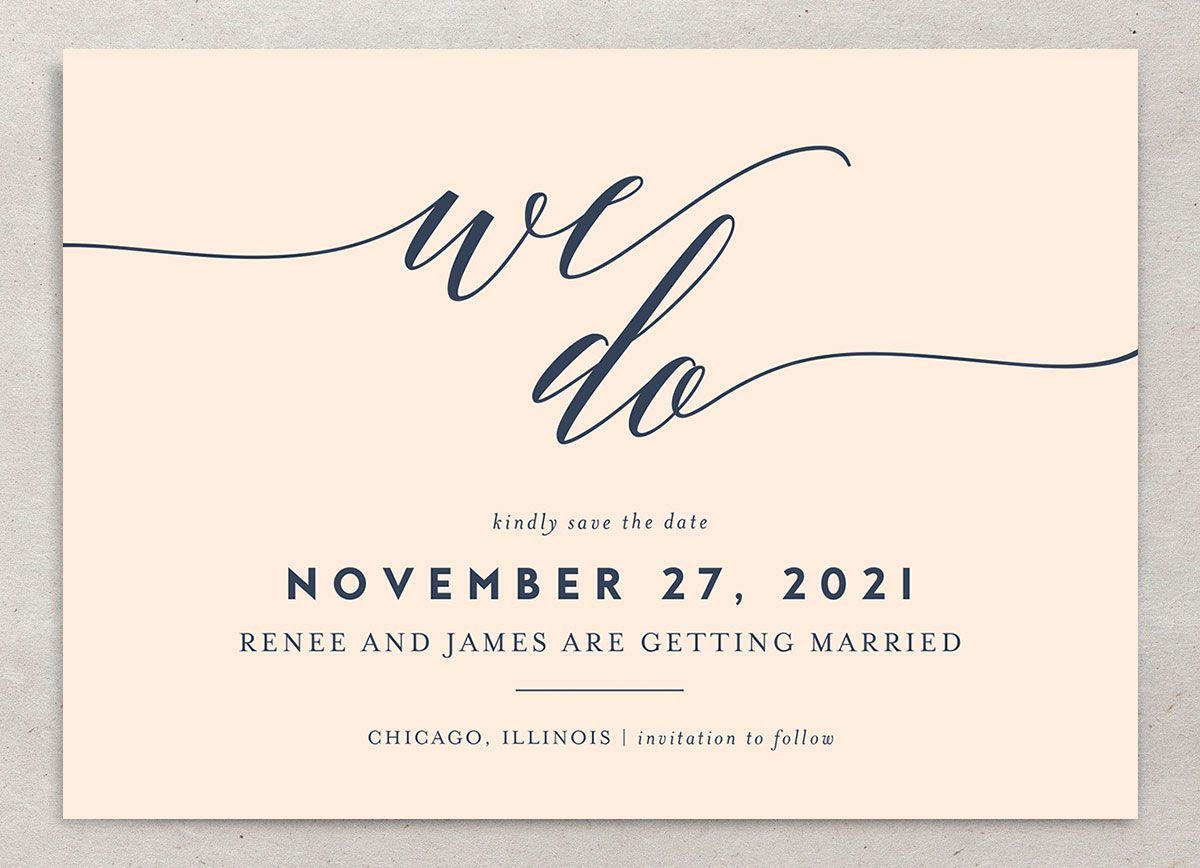 We Do Wedding Save the Dates closeup pink front