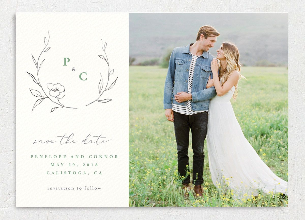 graceful botanical photo save the date cards in green