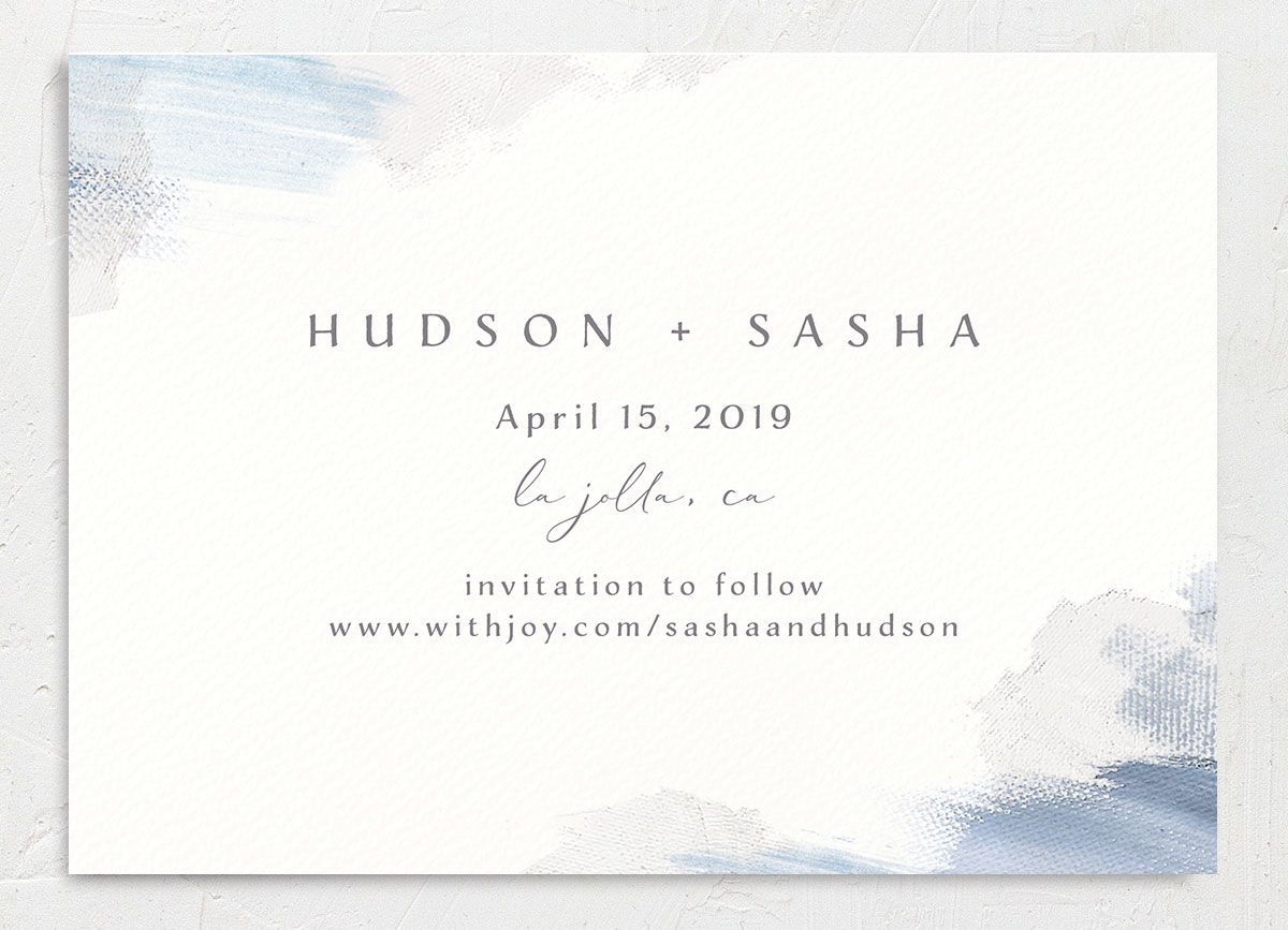 Minimal Brush save the date back blue