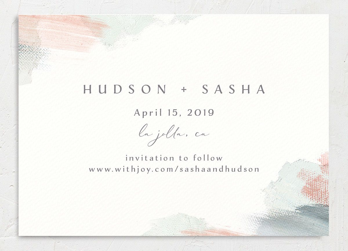 Minimal Brush save the date green back