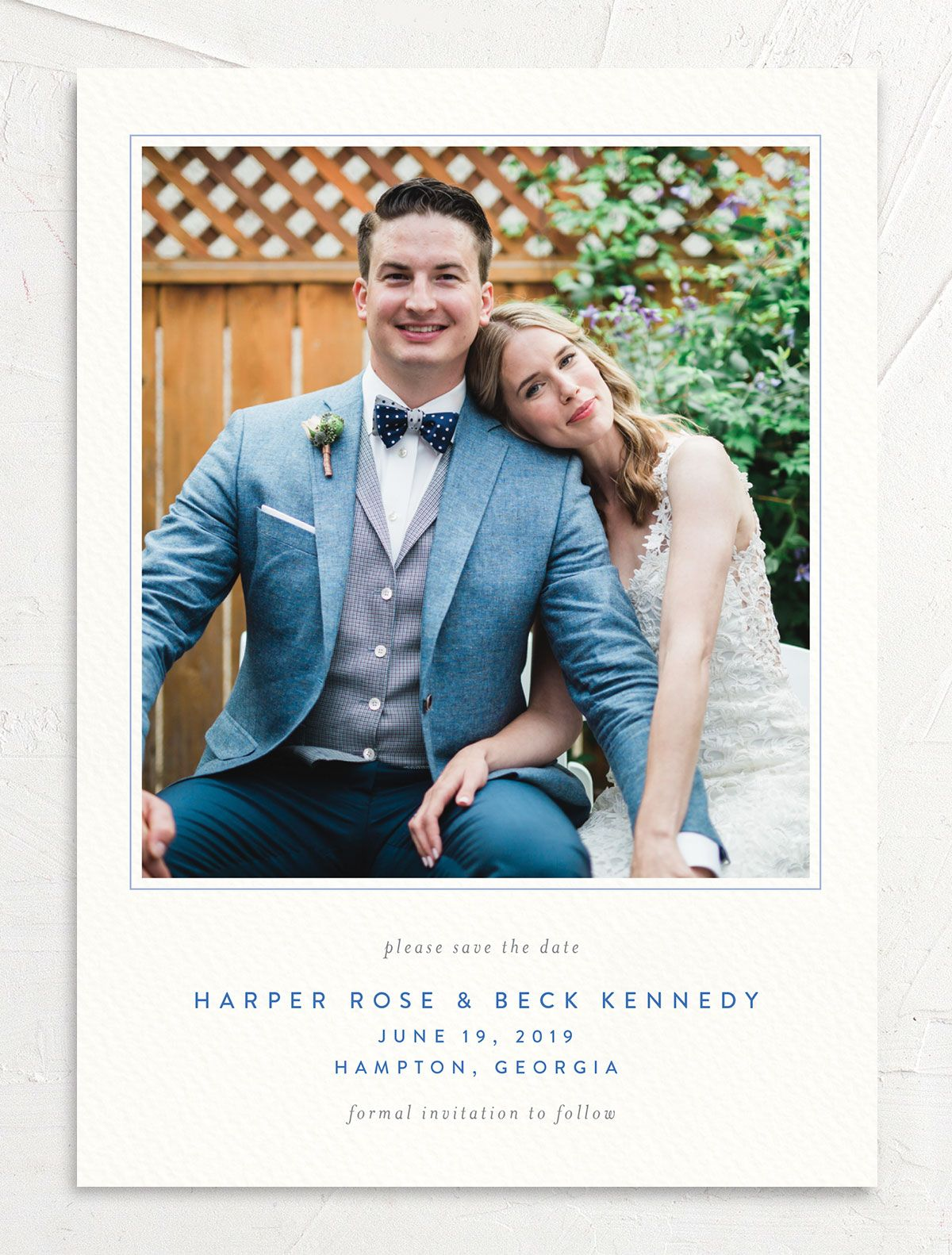 watercolor crest photo save the dates in blue