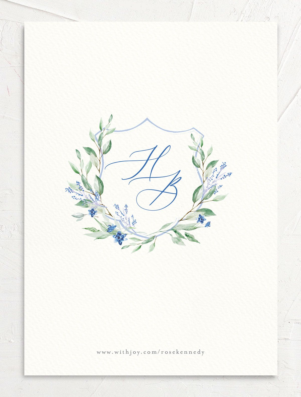 watercolor crest photo save the dates in blue back