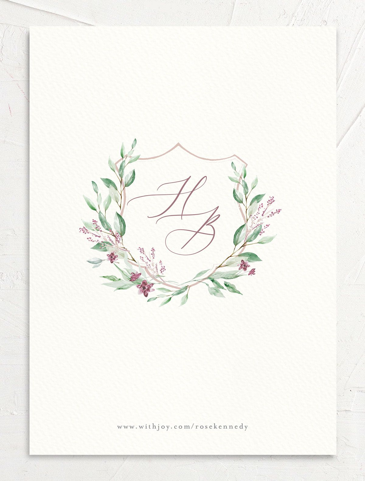 watercolor crest photo save the dates in pink back