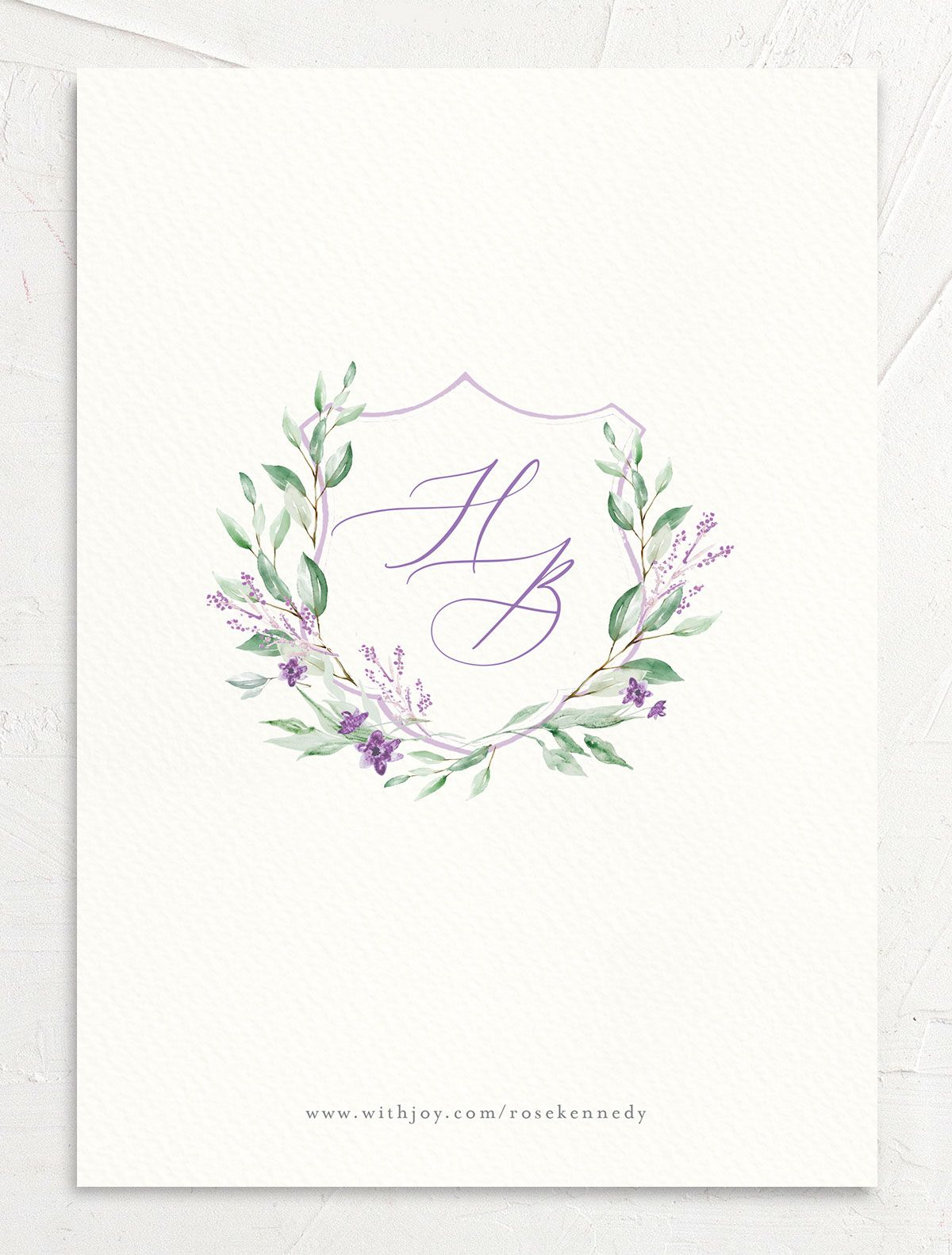 watercolor crest photo save the dates in purple back