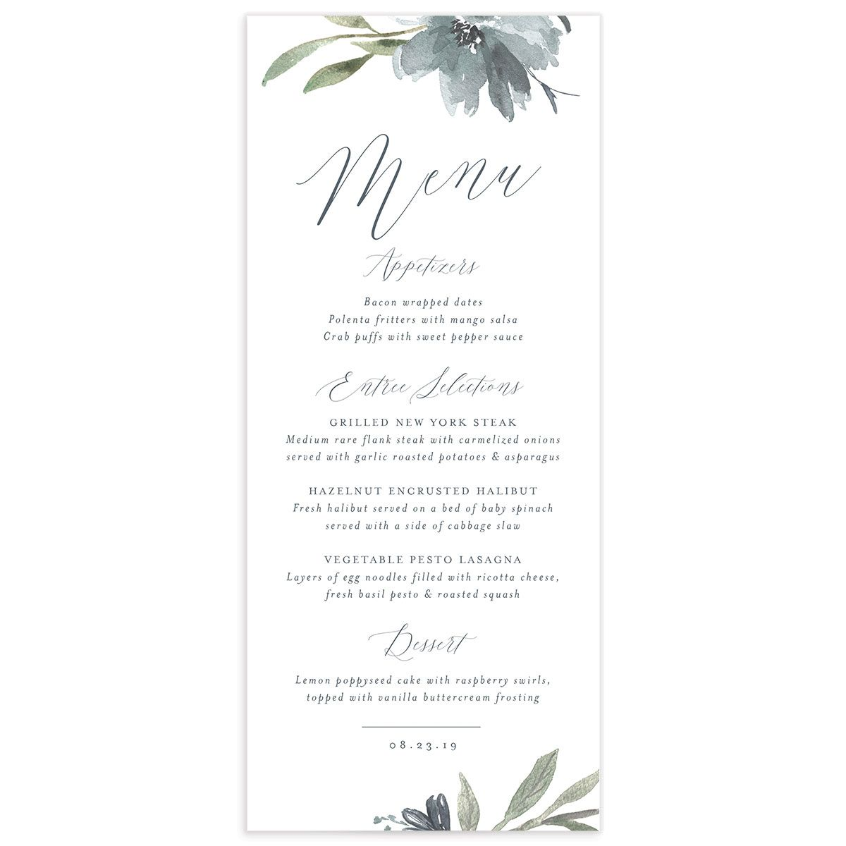 muted floral menus in dusty blue
