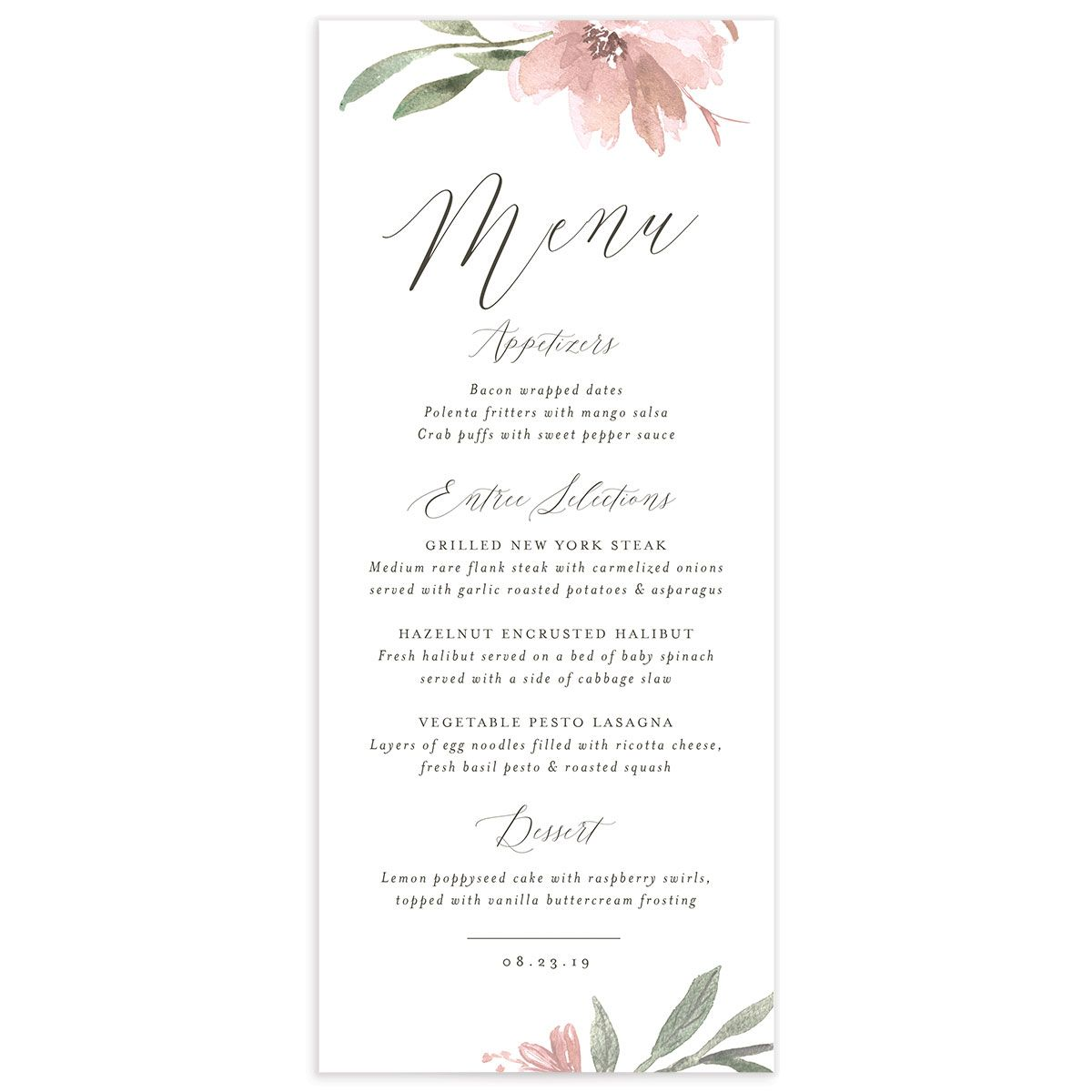 muted floral menus in blush pink