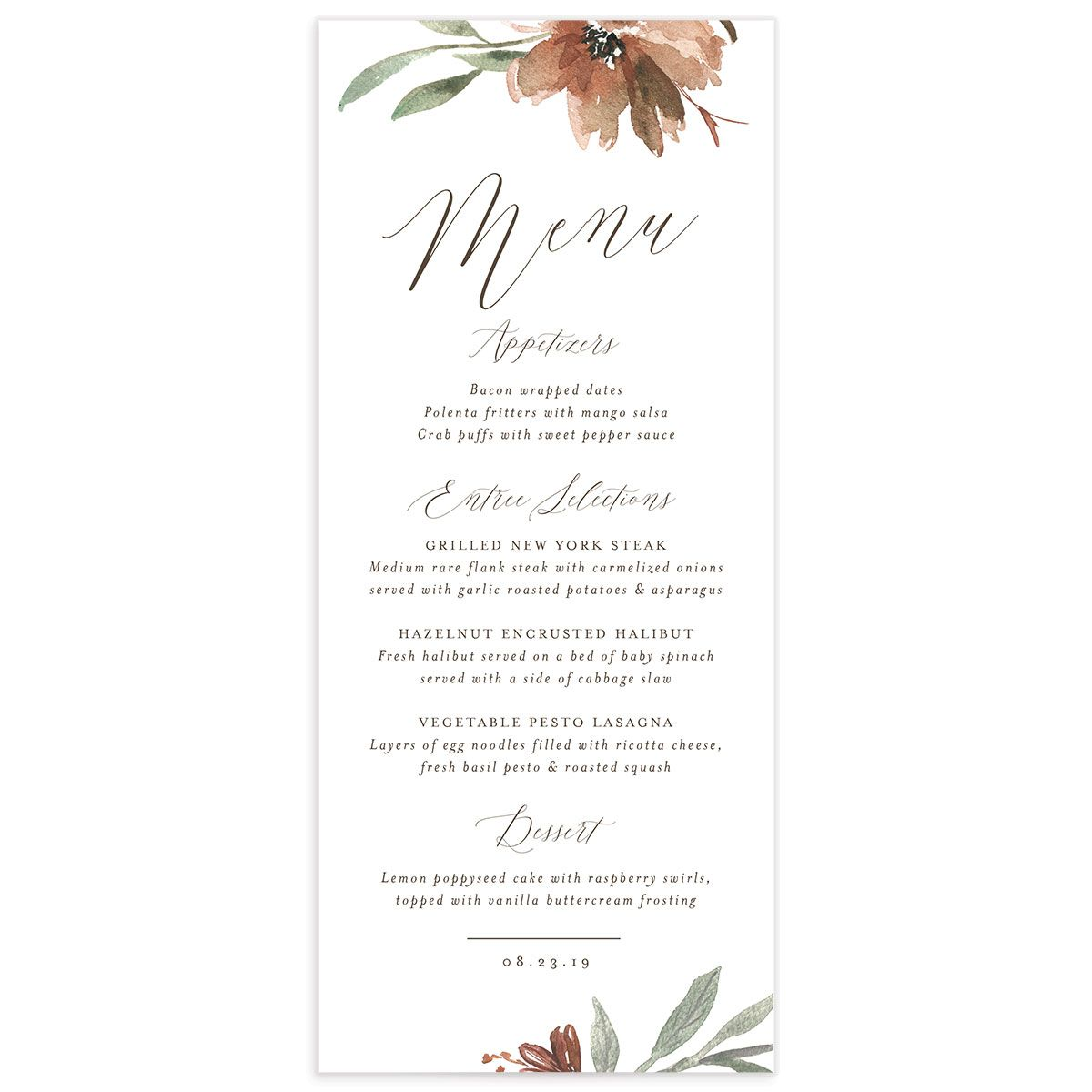 muted floral menus in copper