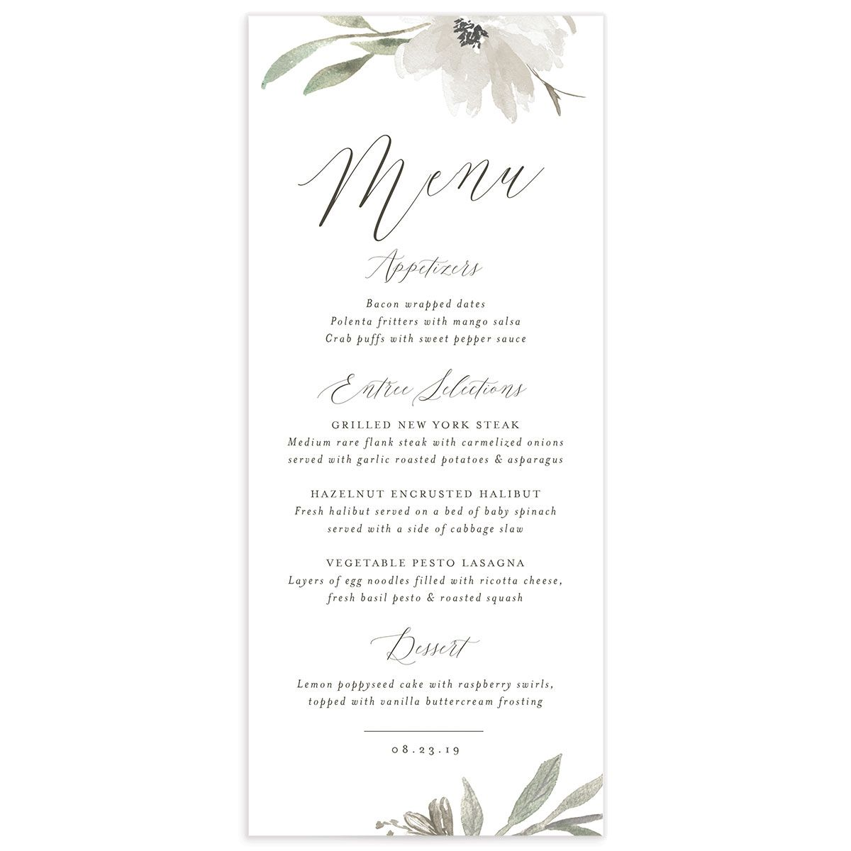 muted floral menus in white