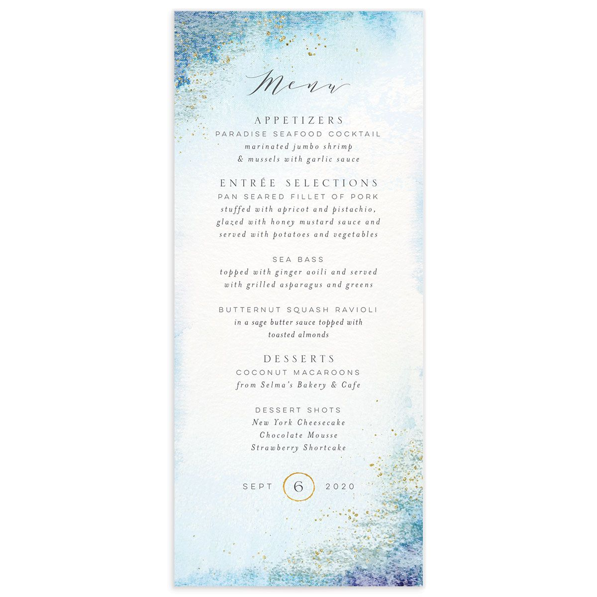 organic luxe menus in blue
