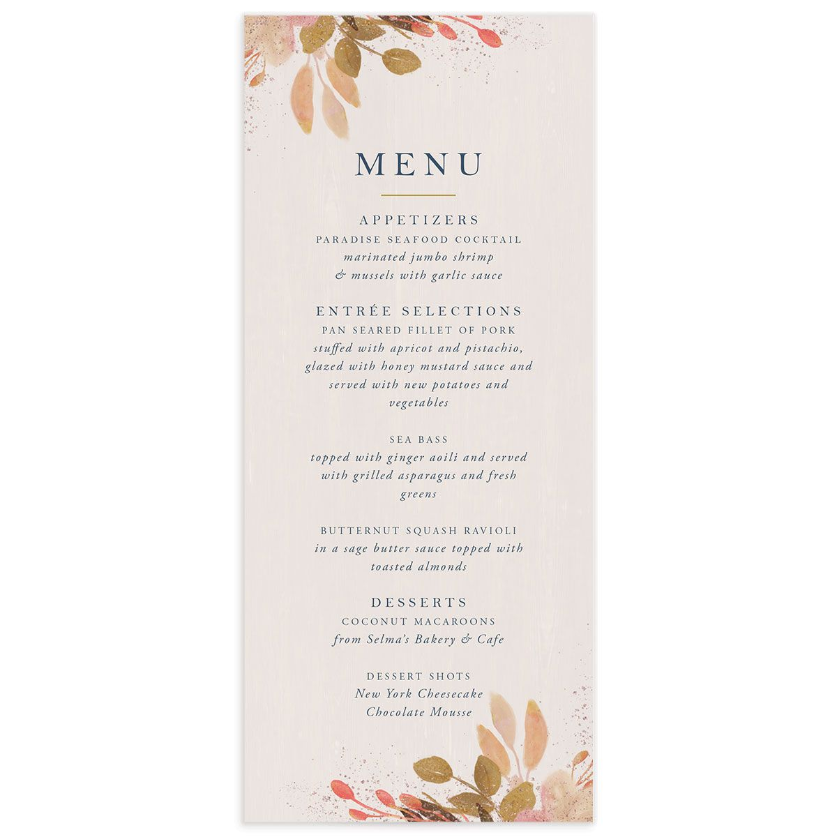 Rustic Leaves Wedding Menus