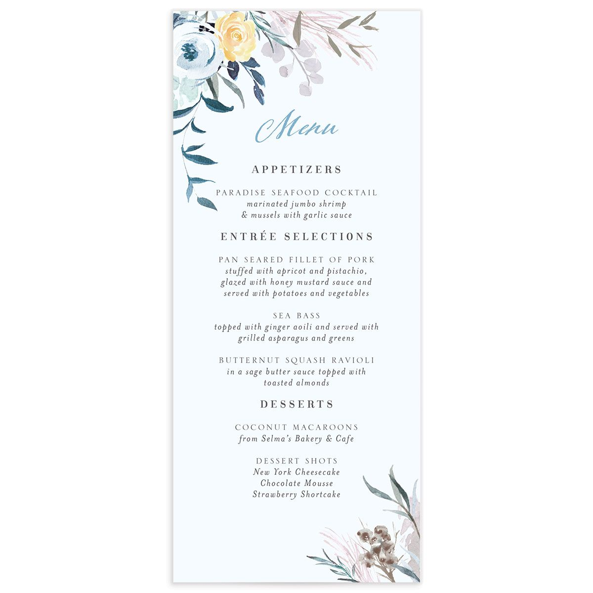 wild wreath wedding menus in blue