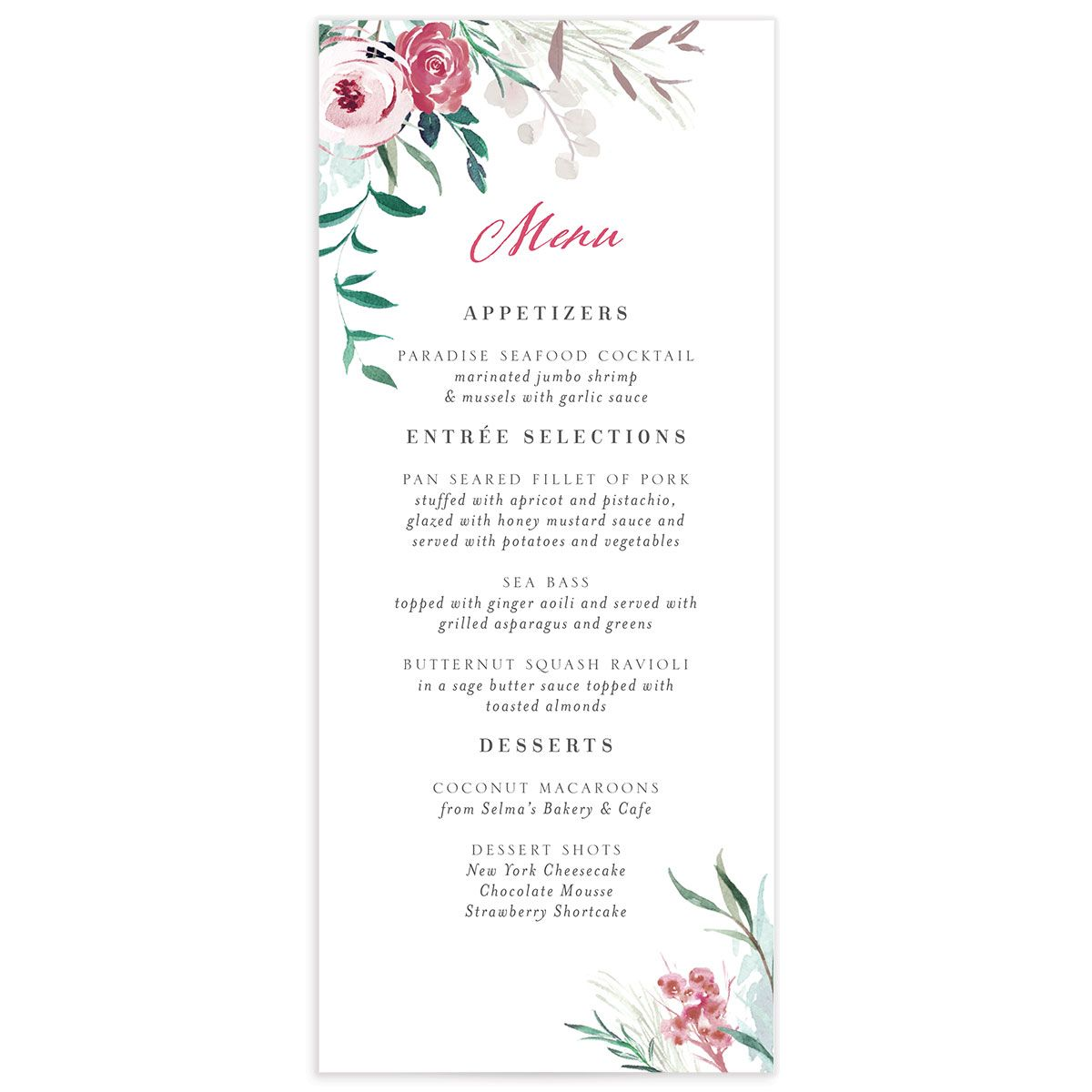 wild wreath wedding menus in green