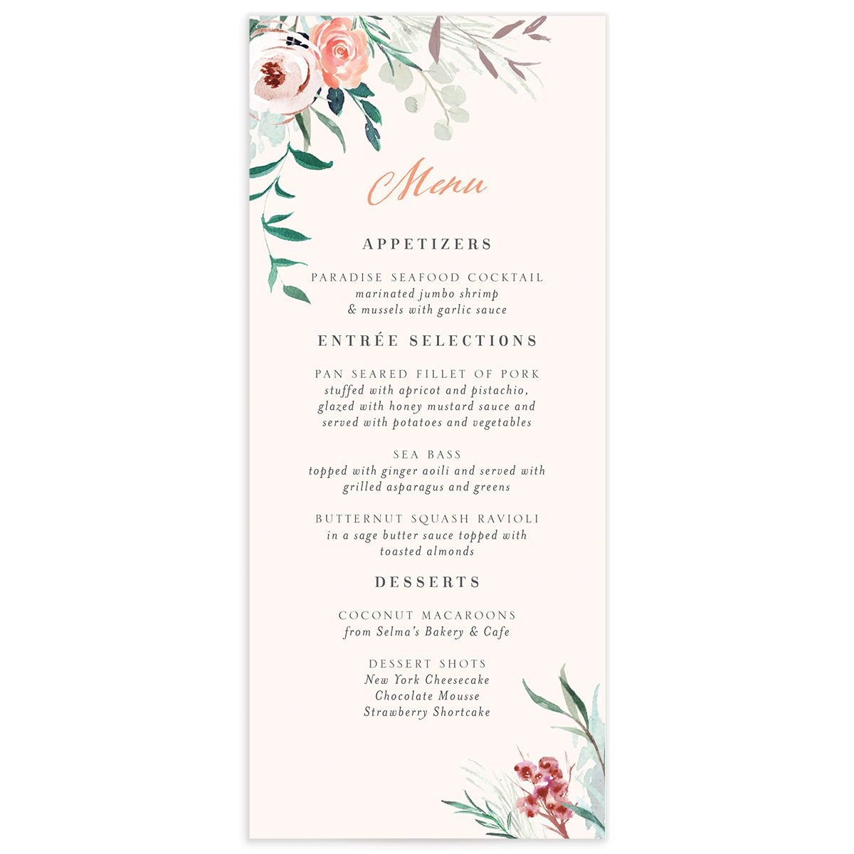 wild wreath wedding menus in pink