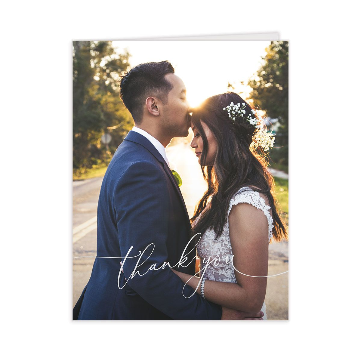 Romantic Calligraphy photo thank you cards in grey